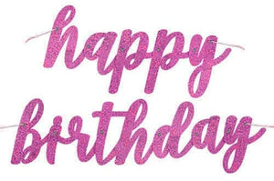 "Glitz Pink & Silver ""Happy Birthday"" Jointed Banner - 2.75ft."