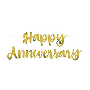 """Happy Anniversary"" Gold Foil Banner"