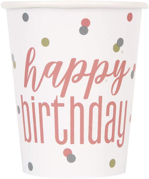 "Glitz Rose Gold ""Happy Birthday"" Party Cups"