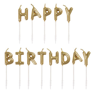 "Gold ""Happy Birthday"" Letter Pick Candles"