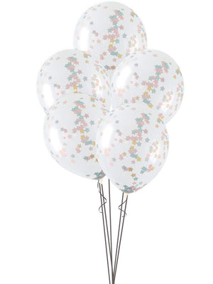 Clear Balloon With Pink, Blue and Gold Star Confetti
