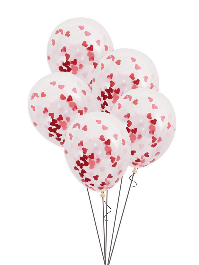Clear Balloon With Red & Pink Heart Confetti