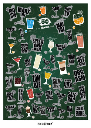 51 Cocktails Scratch Poster