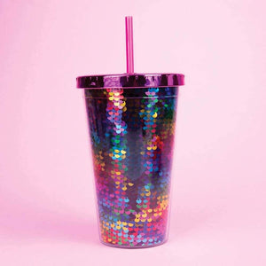 Rainbow Sequin Straw Cup