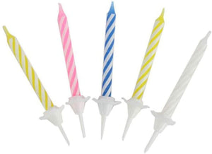 Assorted Striped Birthday Candles in Holders - Pack of 12