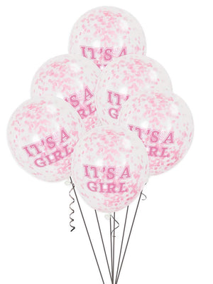 """Its A Girl"" Balloons With Pink Confetti"