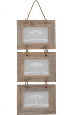 Driftwood Triple Landscape Photo Frame