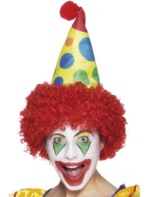 Clown Hat, Red, with Wig