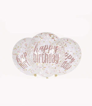 "Glitz Rose Gold ""Happy Birthday"" Balloons With Confetti - 12"""