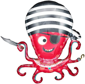 Pirate Octopus Helium Foil Balloon - 35""