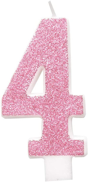 Glitz Pink & Silver Number Birthday Candles