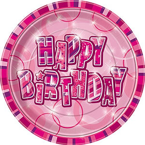 "Glitz Pink ""Happy Birthday"" Party Plates"