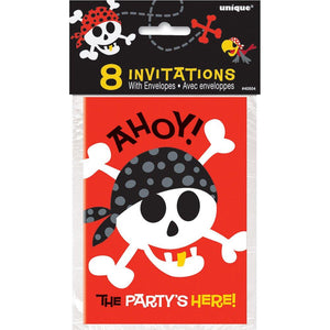 Pirate Fun Party Invitations, Pack of 8