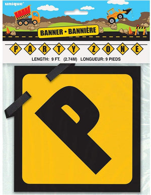 Construction Party Zone Block Banner - 9 ft.