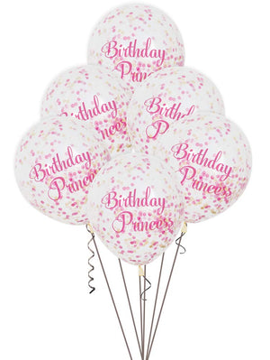 Princess Birthday Balloons With Confetti