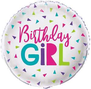 """Birthday Girl"" Confetti Helium Foil Balloon - 18"""