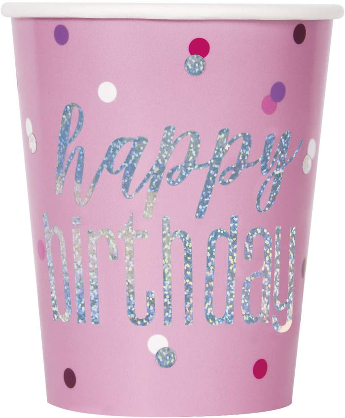 "Glitz Pink & Silver ""Happy Birthday"" Party Cups"