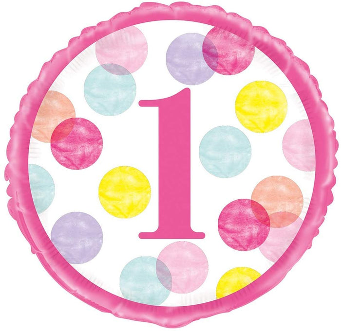 Pink Dots 1st Birthday Helium Foil Balloon - 18""