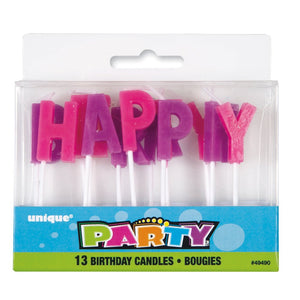 "Purple & Pink ""Happy Birthday"" Letter Pick Candles"