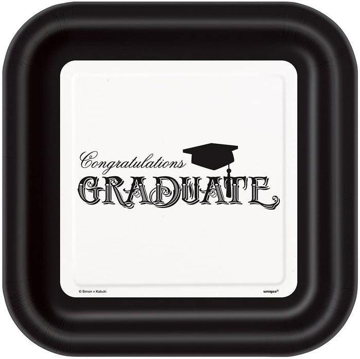 Graduation Square Party Plates - 9inch