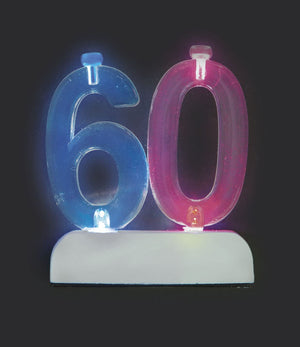 Multicolour Flashing Number Cake Topper & Birthday Candle - (30, 40, 50, 60)