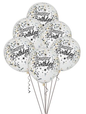 Glitter Birthday Balloons With Confetti