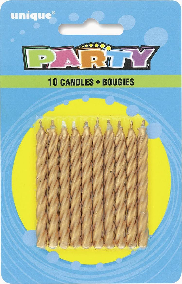 Gold Twist Birthday Candles - Pack of 10