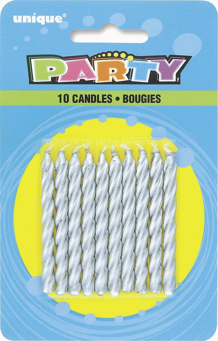Silver Twist Birthday Candles - Pack of 10