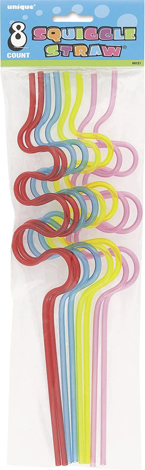 Squiggle Silly Straws - Assorted Pack of 8