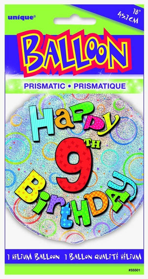 "Prism ""Happy 9th Birthday"" Helium Foil Balloon - 18"""
