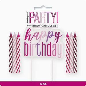 "Glitz Pink & Silver Candles, Set of 13 - ""Happy Birthday"" Pick Set"