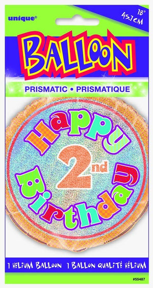 "Prism ""Happy 2nd Birthday"" Helium Foil Balloon - 18"""