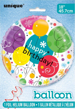 """Happy Birthday"" Breezy Helium Foil Balloon - 18"""