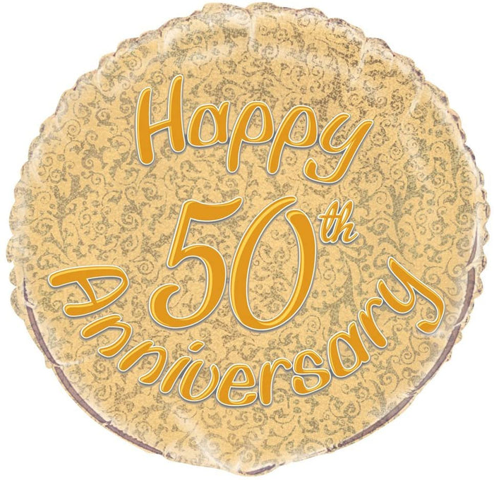 "Prism ""Happy 50th Anniversary"" Helium Foil Balloon - 18"""