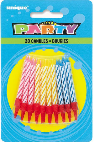 Striped Multicolour Birthday Candles in Holders - Assorted Pack of 20