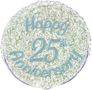 "Prism ""Happy 25th Anniversary"" Helium Foil Balloon - 18"""