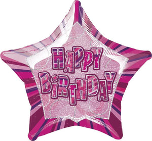 "Glitz Pink ""Happy Birthday"" Star Prism Helium Foil Balloon - 20"""