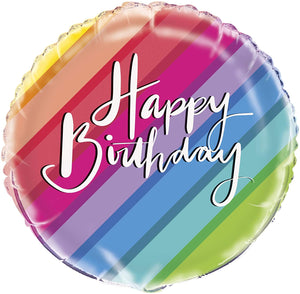 "Rainbow ""Happy Birthday"" Helium Foil Balloon - 18"""