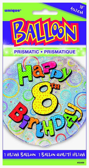 "Prism ""Happy 8th Birthday"" Helium Foil Balloon - 18"""