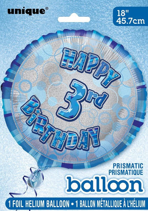 "Glitz Blue ""Happy 3rd Birthday"" Helium Foil Balloon - 18"""