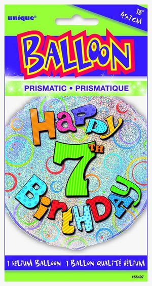 "Prism ""Happy 7th Birthday"" Helium Foil Balloon - 18"""