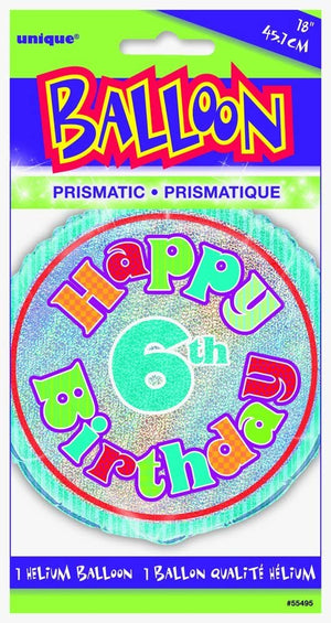 "Prism ""Happy 6th Birthday"" Helium Foil Balloon - 18"""