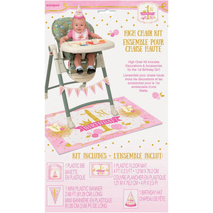 1st Birthday - Pink/Gold High Chair Kit