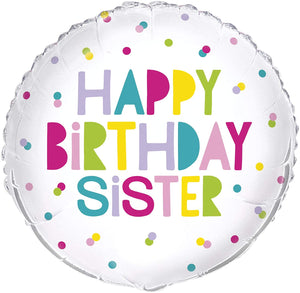 """Happy Birthday Sister"" Polka Dots Helium Foil Balloon - 18"""