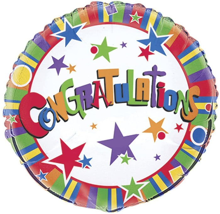 """Congratulations"" Twinkle Helium Foil Balloon - 18"""