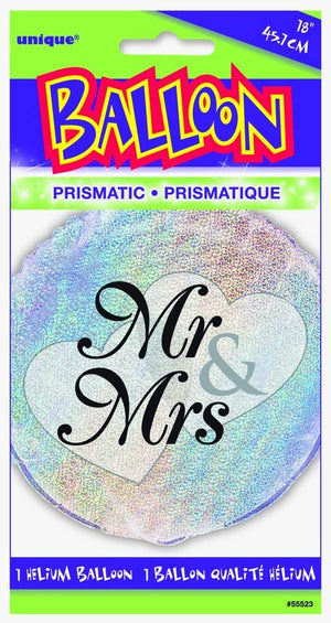 "Prism ""Mr & Mrs"" Helium Foil Balloon - 18"""