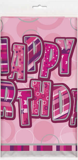 "Glitz Pink ""Happy Birthday"" Table Cover"