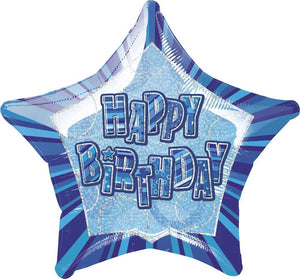 "Glitz Blue ""Happy Birthday"" Star Prism Helium Foil Balloon - 20"""