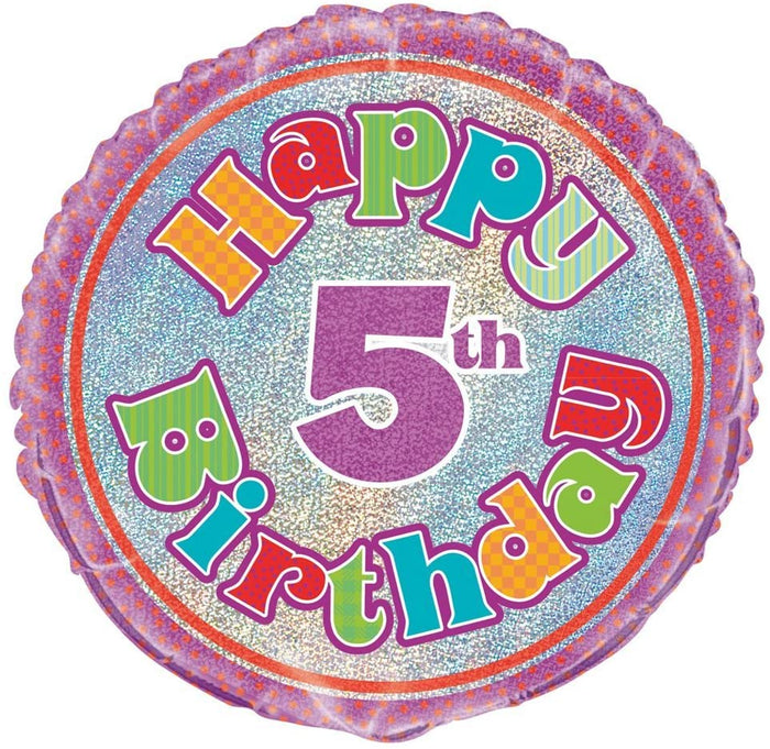 "Prism ""Happy 5th Birthday"" Helium Foil Balloon - 18"""