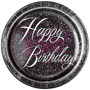 "Glitz Pink Foil ""Happy Birthday"" Plates - 9 inch"